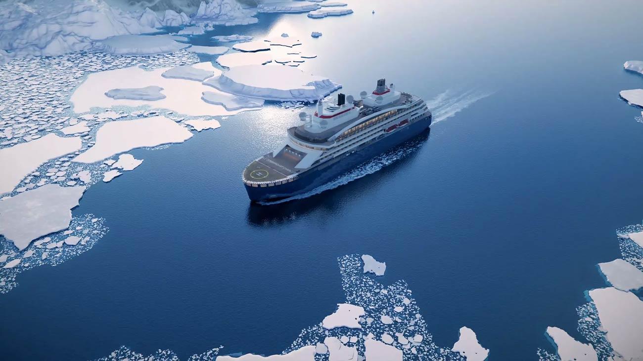 Le navire hybride GNL de Ponant atteint le pôle Nord