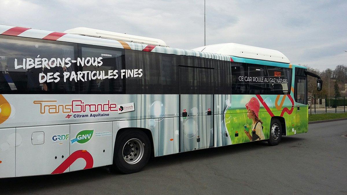 Le réseau TransGironde expérimente un autocar au GNV avec GRDF
