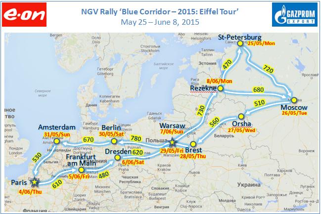 Blue Corridor Eiffel Tour 2015 � De Saint-P�tersbourg � Paris en v�hicules GNV