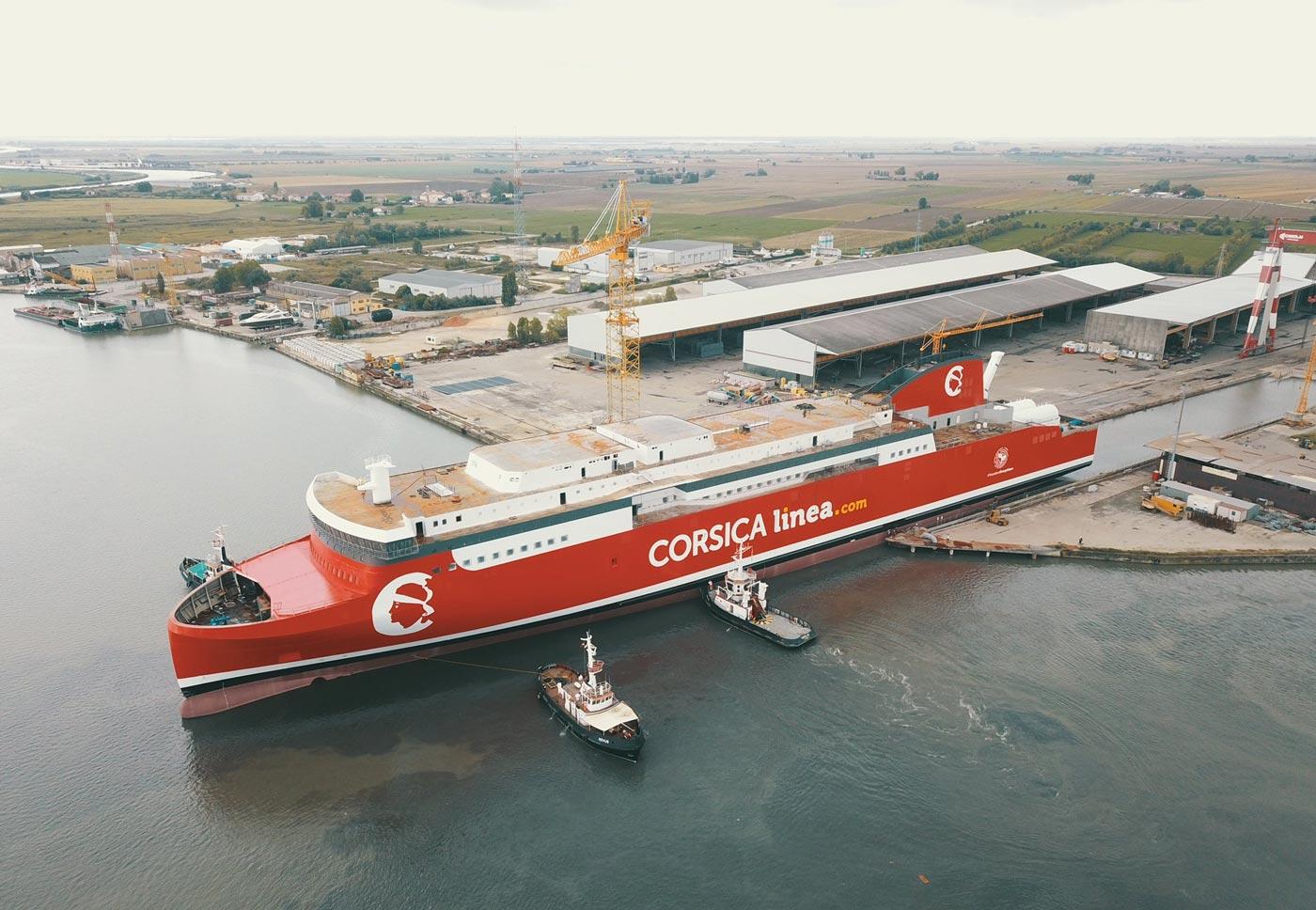 Corsica Linea met à l'eau son nouveau ferry GNL